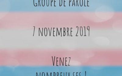 Groupe de Parole – 7 novembre 2019